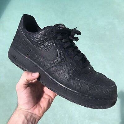 ded6bad7e55f Nike Air Force 1 Croc 718152-007 Mens Sz 13 Black Low AF1 Shoes Sneakers
