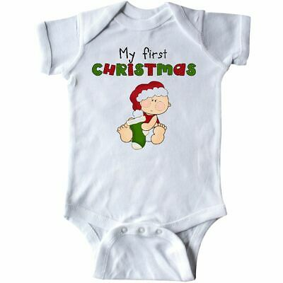 5afa32823 Inktastic My First Christmas Cute Baby Holding A Stocking Infant Bodysuit  1st