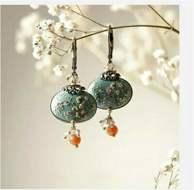 Antique Chinese Style Flower 925 Silver Turquoise Ear Hook Drop Dangle Earrings