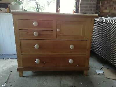 Victorian pine kitchen drawers cupboard with marble top & enamel handles