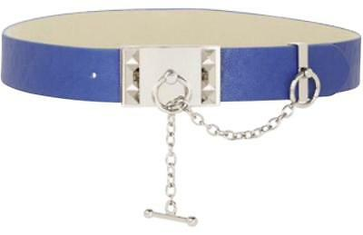 9983557bd New BCBGMAXAZRIA BCBG Belt Toggle Blue Silver Faux Leather Chain Womens  Small