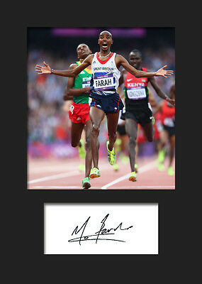 MO FARAH #1 Signed Photo A5 Mounted Print (REPRINT) - FREE DELIVERY