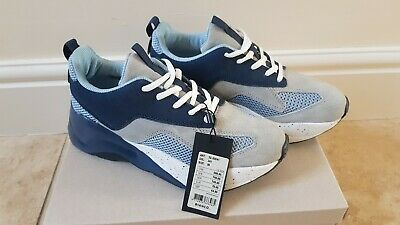 14532934b8a Bianco Women s Laced Up Grey Blue chunky Platform Trainers Leather 5 UK  38  New