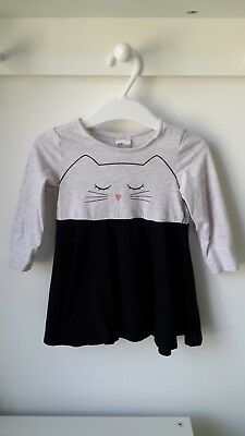 H&M Baby Girl Dress Grey Black Cat (6-9 months)