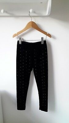 TU Black and Gold Sparkle Leggings Gold Stud Detail Velour (5 years)