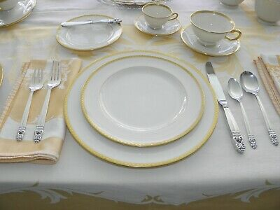 "LENOX ETERNAL GOLD RIMMED 6pc Place Setting for 8  ""Green Hallmark""  1906-1930"