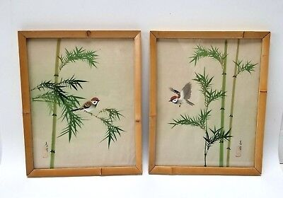 Mid Century Framed Asian Oriental Watercolor on Silk Red Birds Bamboo Signed
