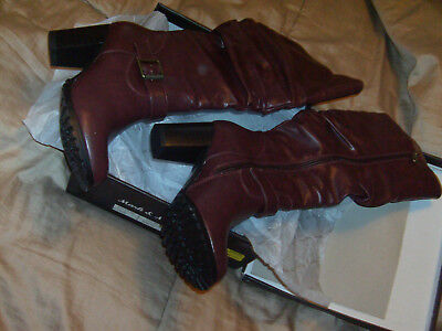 "Mark and Maddux HILTON-06 Knee-high full zip Boots. Wine, Size 6 nwb ""LOOK"""