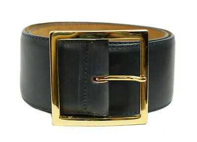 W. Kleinberg America Leather Size XS Wide Gold Buckle Suede Lining Black Belt