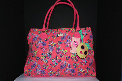 Luv Betsey Johnson X-Large Quilted Satchel Travel/ Duffle Bag - Coral Floral NWT