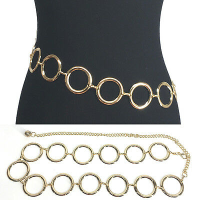 Bling Women Fashion Full Circle Metal Wide Chain Stretch Waist Long Belt S~XL