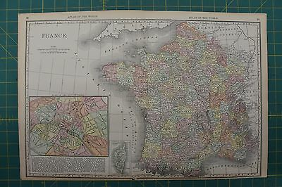France Vintage Original 1892 Antique Rand McNally World Atlas Map