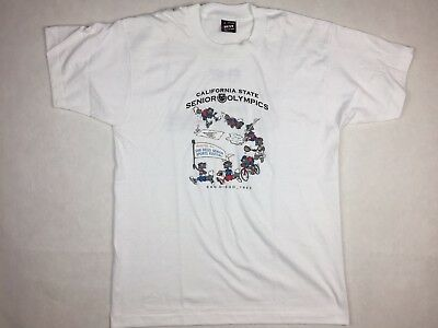 Vintage 90's 1993 Fruit Of the Loom Best California Olympics T Shirt Size Large