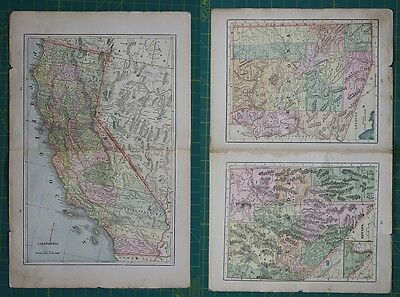 California Nevada Arizona Vintage Original 1897 Cram's World Atlas Map Lot