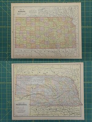 Kansas Nebraska Vintage Original Antique 1892 Popular World Atlas Map Lot