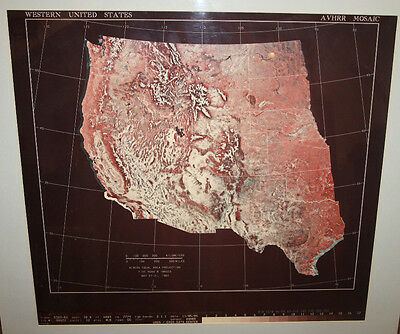 Ultra Rare - Western United States AVHRR Mosaic US Geological Survey Huge 35X32