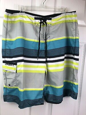 6faadabf6d O'Neill Board Shorts Blue Green Gray Stripe Swim Trunks Beach Wear Men's  Size 36