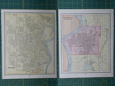 Omaha Council Bluffs Vintage Original 1895 Crams World Atlas Map Lot