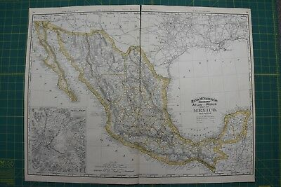 Mexico Rand McNally Vintage Antique 1892 World Business Folio Atlas Map Lot