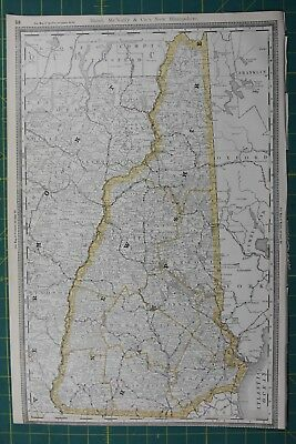 New Hampshire Rand McNally Antique Vintage 1892 World Business Atlas Map