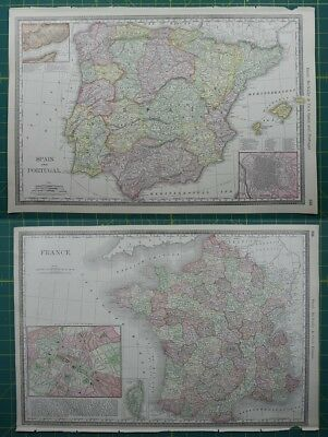 Spain Portugal France Rand McNally Antique Vintage 1892 World Business Atlas Map