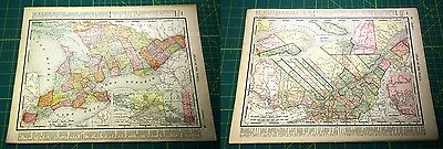 Ontario & Quebec Canada - Rare Original Vintage 1898 Antique World Atlas Maps