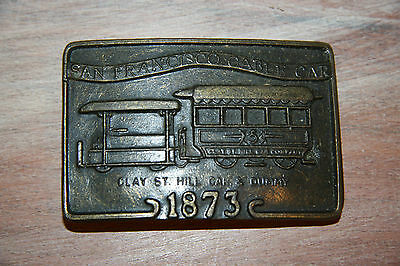 SuperCool Vintage 1970's San Francisco Clay St Cable Car Brass Belt Buckle XMas?