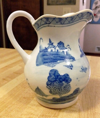 "Vintage CHINESE EXPORT BLUE WHITE CANTON STYLE Small PITCHER 11.75"" tall EXCOND!"