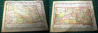 North and South Dakota ND SD Rare Original Vintage 1898 Antique World Atlas Maps