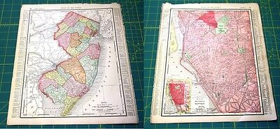 New Jersey NJ & Buffalo, NY Rare Original Vintage 1898 Antique World Atlas Map