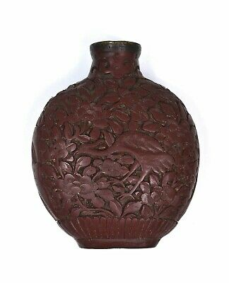 1930's  Chinese Cinnabar Lacquer Carved Carving Flower & Bird Snuff Bottle