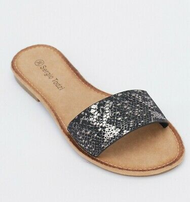 Ladies/Girls Metallic Mock Croc Sliders/Sandals - Size 3 - New in Box