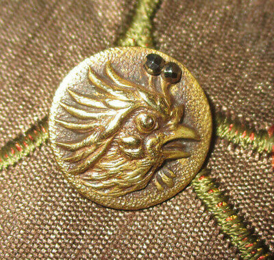 """ANTIQUE VICTORIAN  METAL PICTURE BUTTON - BRASS ROOSTER w CUT STEEL ACCENT 9/16"""""""