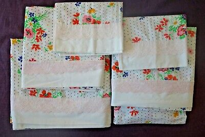 Job Lot 6pc Vintage JUST FLOWERS MARTEX Percale Lace Floral Sheets Pillowcases