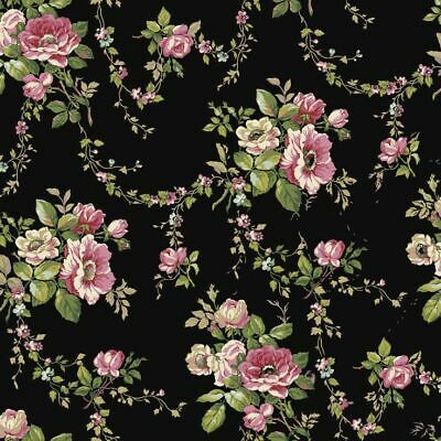 Dollhouse Miniature Shabby Chic Wallpaper Black w Pink Roses Floral Flowers 1:12