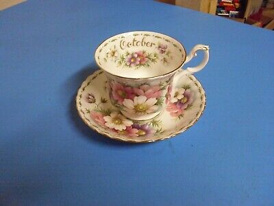 Royal Albert Bone China Tea Cup + Saucer Flower Of The Month Series October