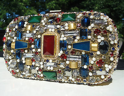 NEW $1500+ Emilio Pucci Jeweled Clutch Gold Fun Artistic Colorful