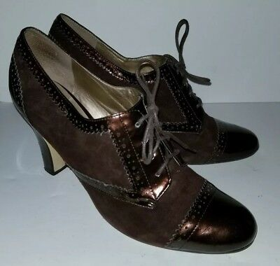 f1d7c0ad16 ENZO ANGIOLINI Copper Brown Patent Suede Wingtip Lace Up Oxford Heels. 9.5
