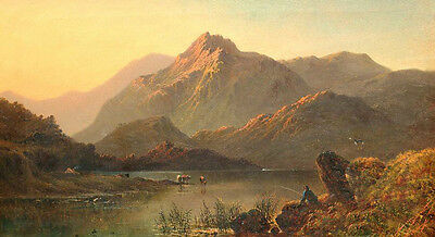 Nice landscape Oil painting mountains around the lake with cows fisher canvas