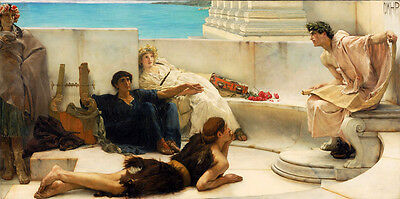Art Oil painting Lawrence Alma-Tadema - Homeric poetry readings Young men party