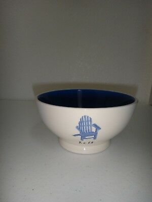RAE DUNN Artisan Collection by Magenta REST Ceramic Pottery Bowl White Blue 16oz