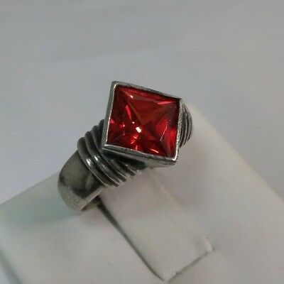 Vintage Sterling Silver & Bright Red Glass Simulated Gemstone Ring - Size 7