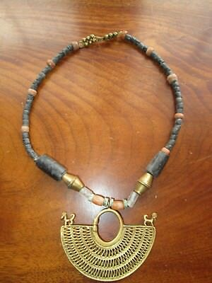 """Vintage Pre-Columbian gold sinu nose ring and beaded Necklace, 18"""" Bogata, COL"""