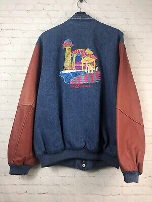 edc10a2c78c VTG Planet Hollywood Walt Disney World Leather Denim Bomber Embroidered  X-Large