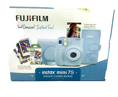 Fujifilm Instax Mini 7S Instant Camera Bundle Case Album Stickers Film 0740 Blue