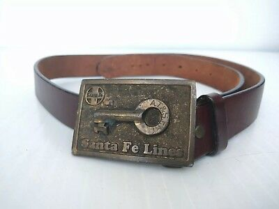 Vintage Santa Fe Lines Buckle With Belt Made in U.S.A.