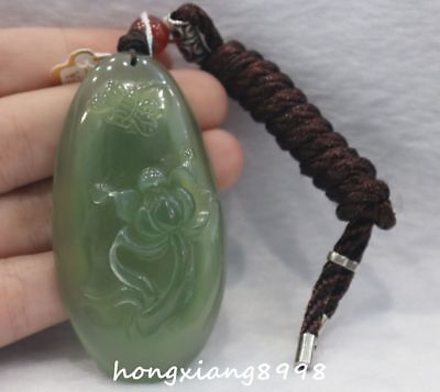 Natural Green Jade Dragonfly Lotus Flower Amulet Necklace Pendant Bag Car Hang