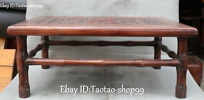 Distinctive China Rosewood Wood Carving Fu Word Drink Tea Table Desk Statue