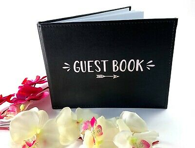 BLACK Guestbook Wedding Engagement 18th 21st Birthday Party Guest Book Keepsake