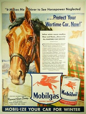 Advertising Original 1942 Print Ad Mobilgas Mobiloil Red Horse Wartime Car Service Pays Wide Selection; Advertising-print